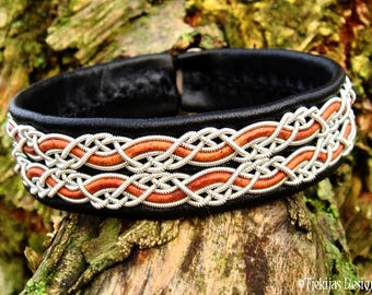 Sami Bracelet MUNINN Black Leather Viking Cuff Bracelet with Pewter and Rosewood Braid, Custom Handmade Norse Jewelry