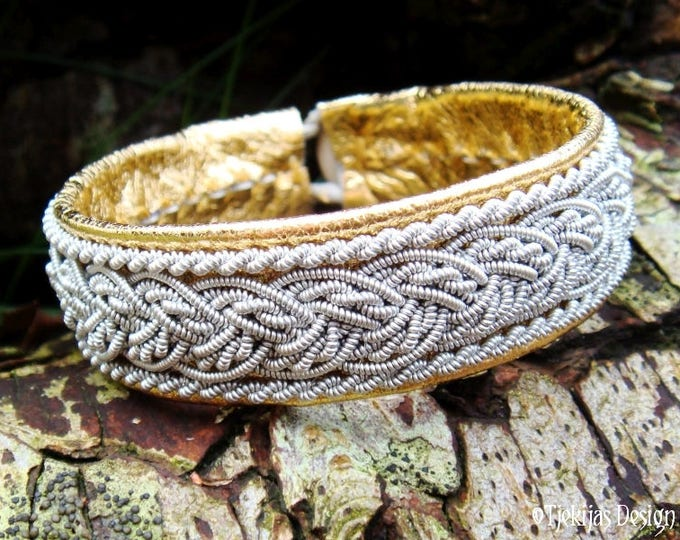 Scandinavian Sami Bracelet | GRANI Handmade Unisex Gold Leather Viking Bracelet Cuff with Pewter Braid | Personalized in Your Color and Size