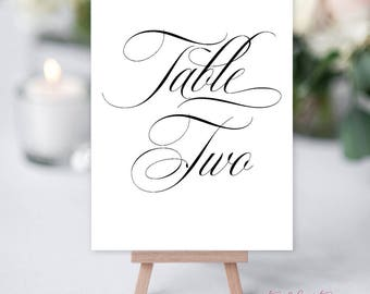 Reception Table Numbers, Printed Table Signs, Wedding Reception - Script Font (Style 13745)