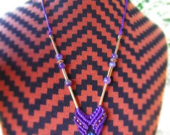 simple sodalite macrame necklace with amethyst beads