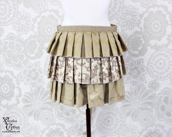 """Steampunk Victorian Ruffle Bustle Overskirt - 3 Layer, Sz. L - Cream & Beige - Fits 33"""" and up -- Ready to Ship"""