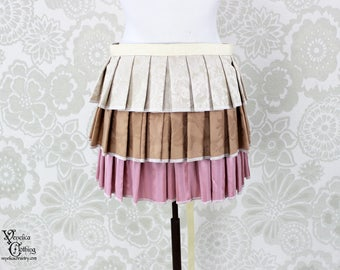 """Steampunk Victorian Ruffle Bustle Overskirt - 3 Layer, Sz. L - Ivory, Tan, & Pink - Fits 33"""" and up -- Ready to Ship"""