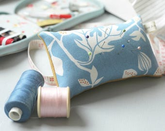 Handmade Pincushion Blue and Yellow Floral Leaf Print // Sewing accessories // Sewing room // Pin cushion