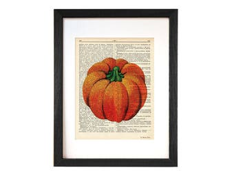 Pumpkin print-Fall decor-Pumpkin dictionary print-Kitchen wall art-Thanksgiving print-botanical print-rustic print-vegetables print-DP220