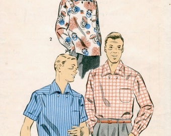 Neat Vintage 1950s Advance 7105 Men's Pullover Shirt with Horizontal Opening Sewing Pattern Size Small Chest 34 to 36