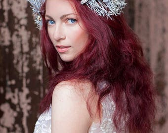 Woodland Fairy Headpiece / Open Front Crown - Photo Shoot Prop - Cosplay - Fantasy - Real Twigs and Dried Flowers Haindpainted White