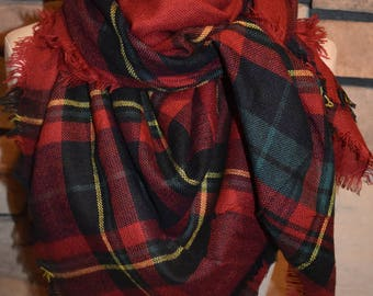 Plaid Tartan Blanket Scarf Red Plaid Scarf Scarves Zara Style Plaid Bloggers Favorite-Monogram Avail-Womans Accessories-New Color