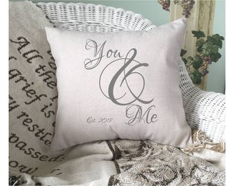You And Me  |  Pillow Cover | Established Date | Valentines Day Decor | Throw Pillow Cover | Bedroom Decor | Wedding Gift | 22528