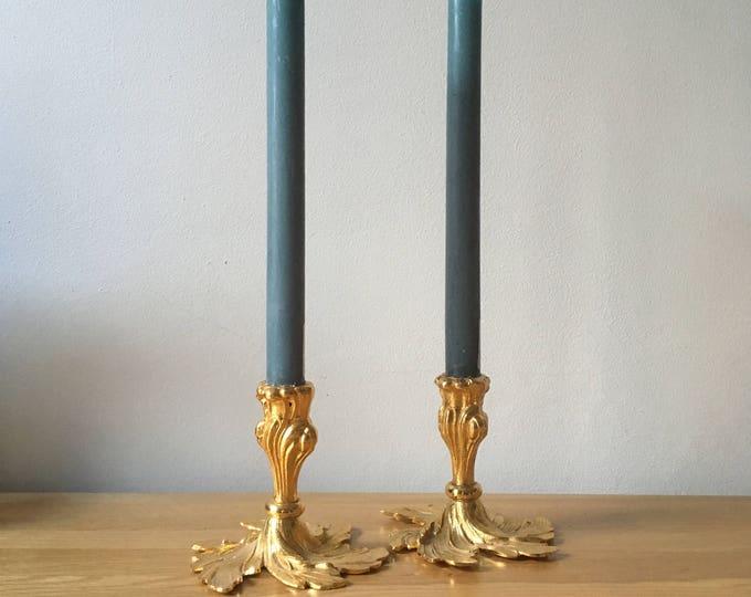 Pair of Gilt Candlesticks, hostess gift, housewarming, Christmas centrepiece, low candlesticks, single candleholders, sunburst, gold candle