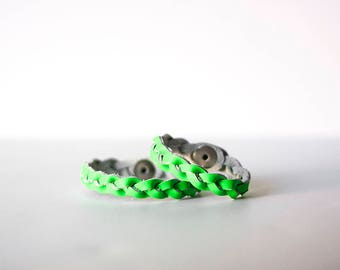 Mommy & Me Bracelet Set / Braided Leather / Neon Green