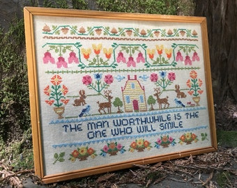 Vintage Flowers, Acorns, Woodland Creature Cross Stitch