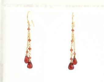 Red Garnet Earrings, Garnet Gold earrings, January Birthstone Gift, Gift For Her,