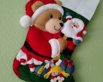Finished Bucilla Stocking TEDDY'S CHRISTMAS 18 inches UNIQUE