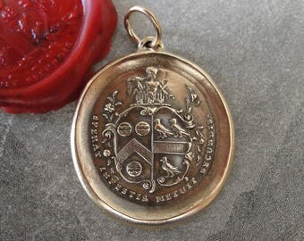 Hope in Adversity Fear in Prosperity Wax Seal Pendant Horace Odes Latin Golden Mean motto - antique wax seal jewelry charm by RQP Studio