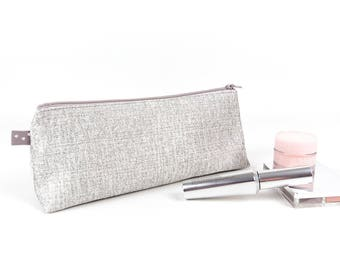 Sparkle Metallic Silver Makeup Bag Large Pencil Case Silver Makeup Brush Holder Grey Cosmetic Bag Gift for Teen Girl