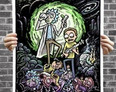 """Rickor Mortis - Rick and Morty 16x20"""" Poster Illustration with Hidden Show References (strictly for fans)"""