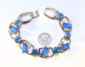 D&E Juliana Delizza and Elster Silvertone, Blue and Clear Rhinestone Keystone Link Bracelet