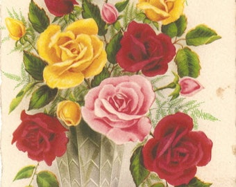Antique French Postcard Chromolithograph Shabby Roses in Glass Flower Vase, Red Yellow Pink Roses Rosebuds