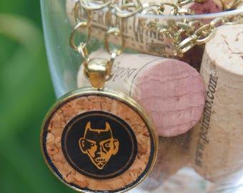 Wine Cork Necklace with Devil Wine Label