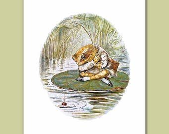 "Baby Wall Decor (Beatrix Potter Fishing Print, Boys Nursery Art) ""Fishing Frog"" -- Peter Rabbit's Friends"