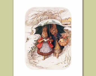 "Peter Rabbit Art, Woodland Wall Decor (Girls Nursery, Boys Room Print) ""Peter Rabbit"" -- Beatrix Potter Artwork"