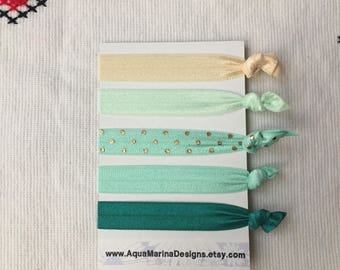 Elastic Hair Ties - Emerald Collection