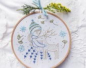 Embroidery hoop art, Embroidery kit, Winter embroidery - Golden Deer - Christmas ornaments, Hand embroidery, Diy kit,Embroidery art,Broderie