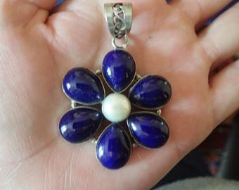 Flower Lapis Lazuli with Pearl in Sterling Pendant.