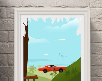 The Duke of Hazzard 80's Minimalist Movie Poster - Alternative Poster - Poster Art Print -  TV Poster Wall Art- Man Cave - Cinema Room