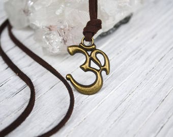 Om Necklace, Mens Om Necklace, Brass Om on Cord, Yoga Om, Praṇava Jewelry, Brass Unisex Om, Long Cord Om, Mens Om, Aum Jewelry, Spiritual