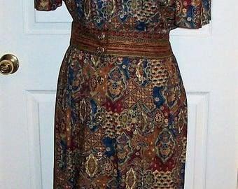 Vintage Ladies Multi Color Geometric Floral Print Dress by Positive Attitude Size 16 Only 12 USD