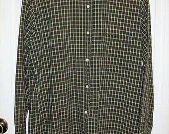 Vintage Men's Green Plaid Long Sleeve Shirt by Abercrombie & Fitch Small Only 7 USD