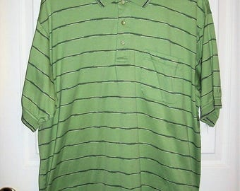 Vintage Mens Green Striped Polo Golf Shirt by Izod Large Only 8 USD