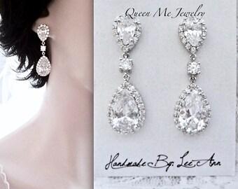Cubic Zirconia earrings, Brides earrings,AAA+ stones, High quality, LUX, Teardrops Wedding earrings, Anniversary,Birthday Gift, VICTORIA