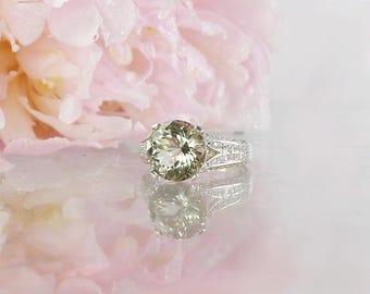 Herkimer Diamond Ring, Unique Engagement Ring, Diamond Alternative, Conflict Free Engagement Ring,  Unique Gemstone Ring, Herkimer Diamond