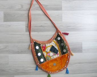 Vintage 80's Indian Patchwork 'Mirror & Tassels' Embroidered Hippie Sling Crossbody Bag