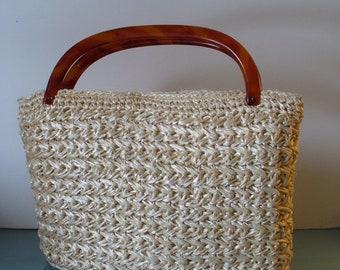 Vintage Large Cream Raffia Handbag With Lucite Handle