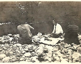 "Vintage Snapshot ""On The Rocks"" 1920's Girlfriends Have Picnic On Rocky Beach Dramatic Found Vernacular Photo"