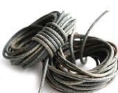 2mm Natural Leather round cord - Vintage Grey - 10 feet, LC090