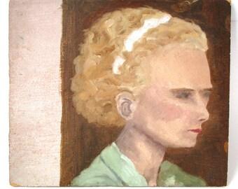 vintage portrait of a young lady, green dress, primitive art, folk art, oil painting