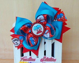 Thing1 and Thing2  bow for babies, toddlers and big girls ~ Bow measures approximately 5.5 inches