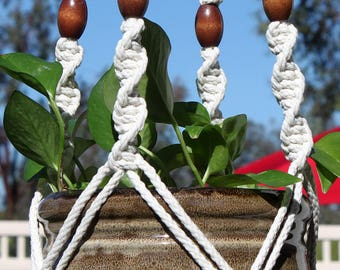 CIRQUE - Handmade Macrame Plant Hanger Plant Holder with Wood Beads - 6mm Braided Poly Cord in NATURAL WHITE