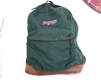 Classic Old School Jansport Forest Green  Made In USA Leather Suede Bookbag Backpack 1980s 1990s