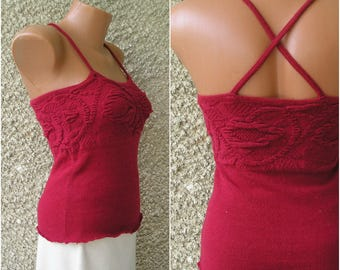 Vintage WOOL knit top, size S