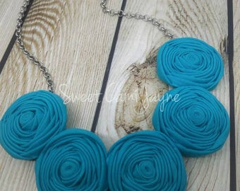 Fabric Necklace Bib Necklace Rosette Necklace Turquoise Statement Necklace Textile Necklace Handmade Necklace Unique Necklace Bridesmaid