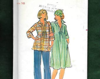 Vintage 70's Butterick 4828 Misses' Maternity Hippie, Boho, Smock, Dress, & Pants With Rolled Cuffs , And Slit Placket Front, Size 16, UNCUT