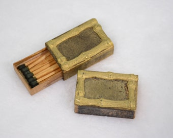 Wooden and Metal Bamboo Match Box Set