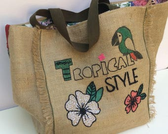 Extra large burlap tote bag, recycled, handmade, hand embroidered, hand painted, beach bag,  of a kind, shoppers bag