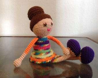 Crochet Rainbow Doll with bun, Pink Green blue orange purple Stripes brunette Stuffed toy baby girl kids children Gift, MADE TO ORDER