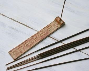 incense holder, stick incense burner, rust incense tray, meditation, altar items, incense stick, aromatherapy, ceramic tray, zen home decor